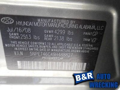 06 07 08 09 10 HYUNDAI SONATA BRAKE MASTER CYL W/ABS W/TRACTION CONTROL 8976366 8976366