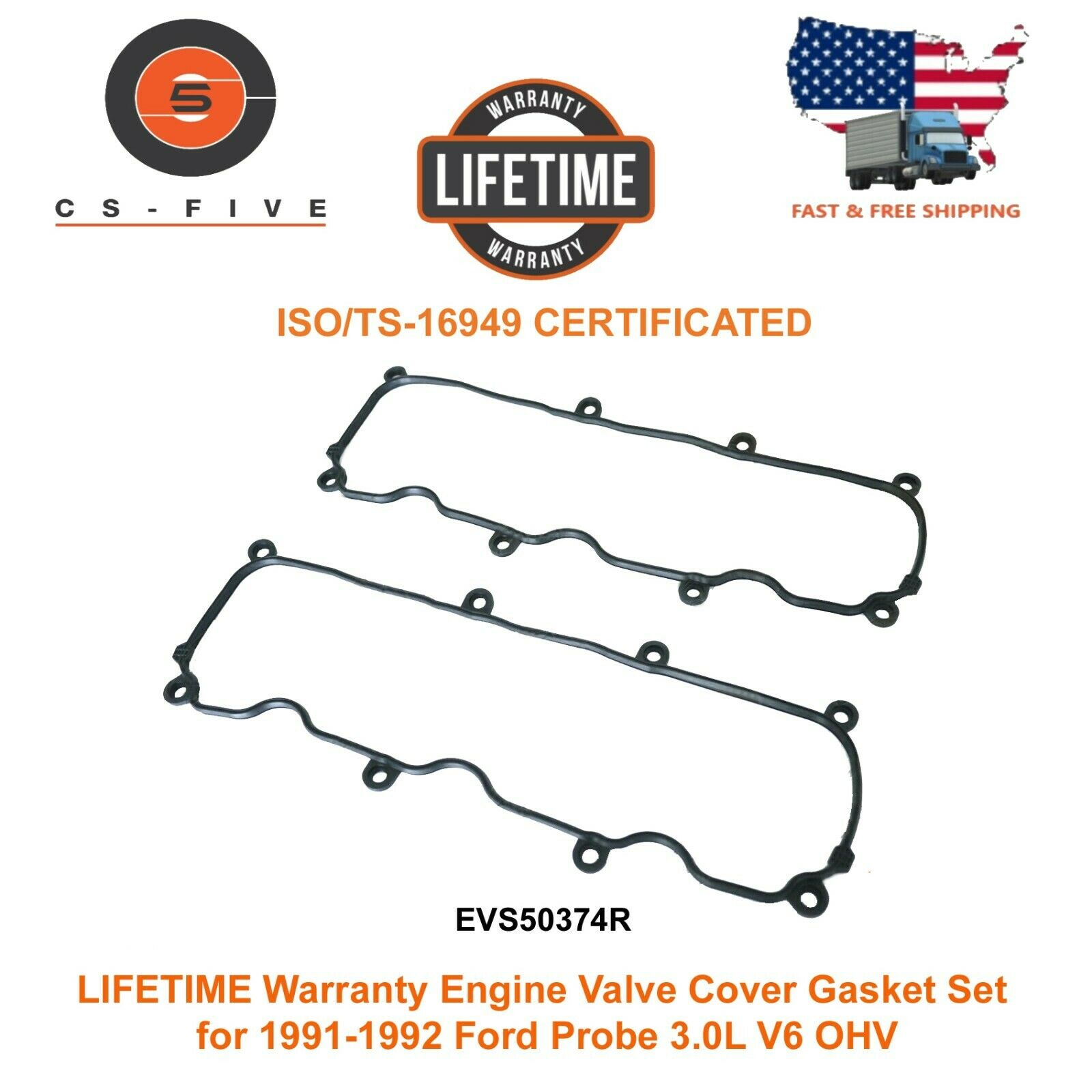 LIFETIME Warranty Valve Cover Gasket Set for 1991-1992 Ford Probe 3.0L V6 OHV 4F1Z6584AA VS50374R