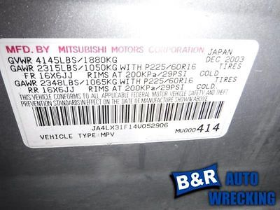PASSENGER RIGHT LOWER CONTROL ARM FR FITS 03-05 OUTLANDER 9732625 512-58707R 9732625