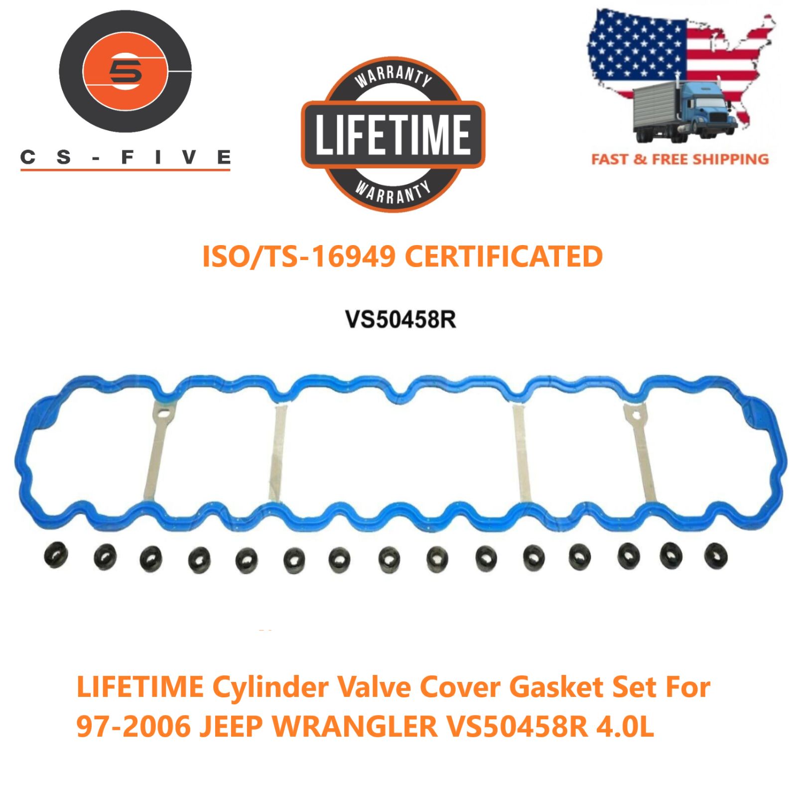 LIFETIME Cylinder Valve Cover Gasket Set For 97-2006 JEEP WRANGLER VS50458R 4.0L VS50458R VS50458R