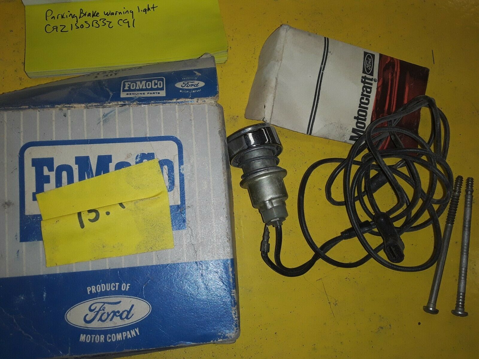 NOS 1966 FORD GALAXIE PARKING BRAKE SIGNAL LAMP KIT C6AZ-15A852-A C6AZ-15A852-A