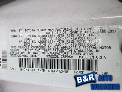 05-10 11 12 13 14 15 TOYOTA TACOMA L. LOWER CONTROL ARM FR 4X2 EXC. PRE RUNNER 8511204