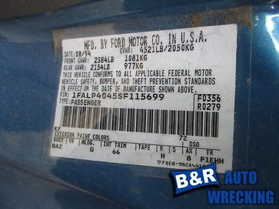 94 95 FORD MUSTANG ENGINE ECM ELECTRONIC CONTROL MODULE 6-232 3.8L FED AT 590-04003 9209962