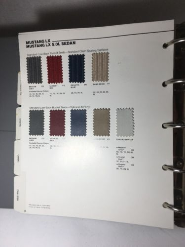 1989 Ford Dealer Color Trim Selections Album- Mustang, Truck, Thunderbird ++
