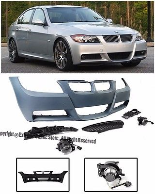 For 06-08 BMW E90 3-Series NO PDC M-Tech Style Front Bumper Cover Projector  Fog