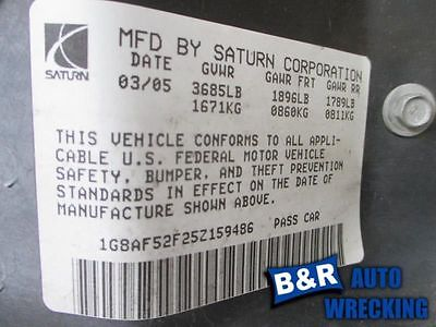 05 06 SATURN ION ENGINE ECM ELECTRONIC CONTROL MODULE 2.2L OPT L61 8952865 8952865