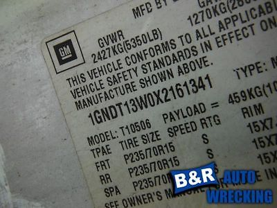 95-00 01 02 03 04 05 S10 BLAZER STEERING GEAR/RACK POWER STEERING 4X4 9094890 551-01649 9094890
