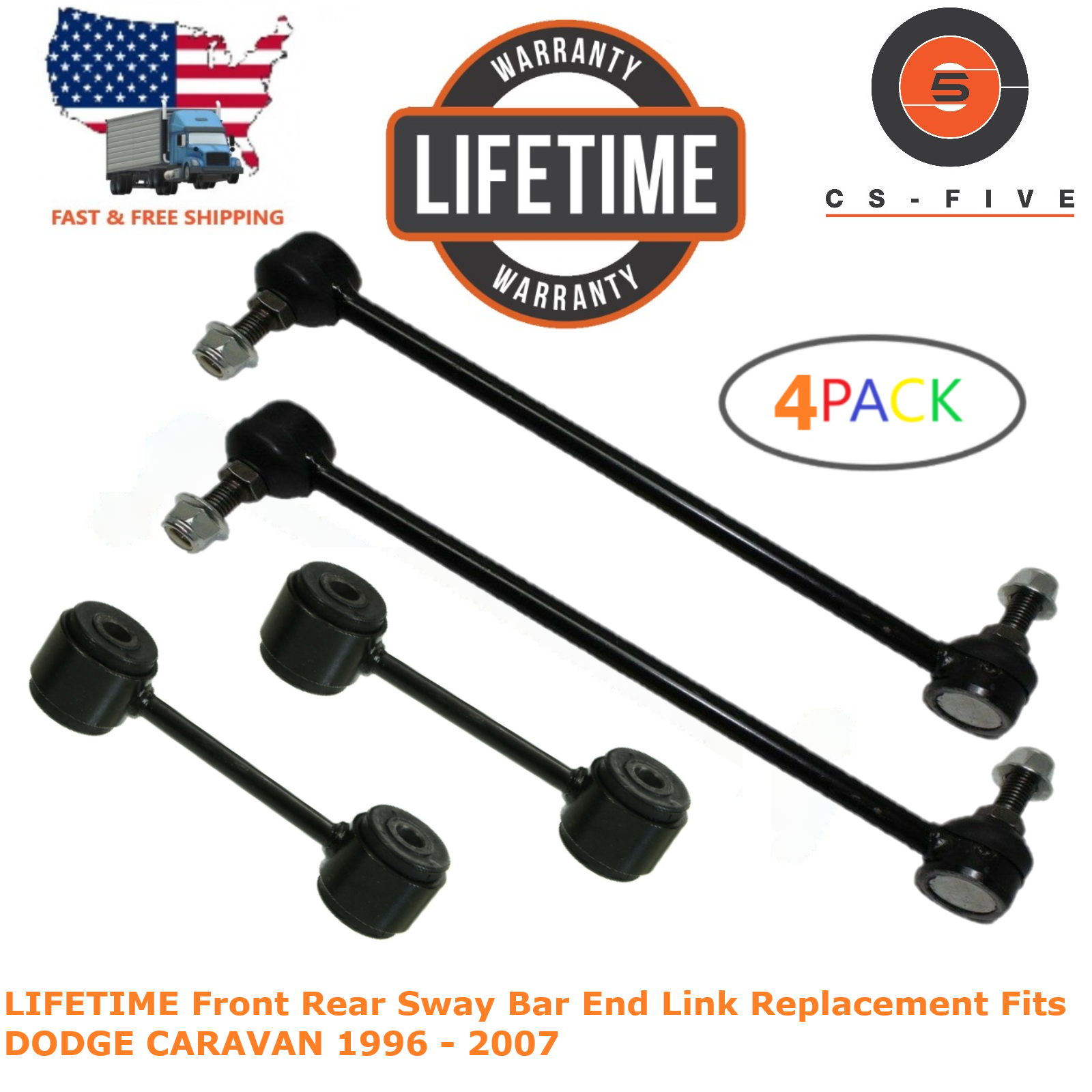 LIFETIME Front Rear Sway Bar End Link Replacement Fits DODGE CARAVAN 1996 - 2007 4684292