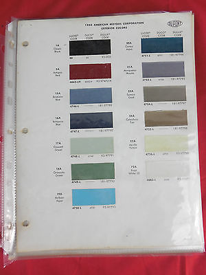 1966 American Motors Corporation Exterior Colors Dupont paint chip sheet pg1