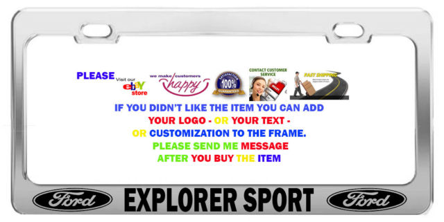 CHROME STEEL> CAR LICENSE PLATE FRAMES> TAG HOLDER> FORD EXPLORER SPORT CAR.