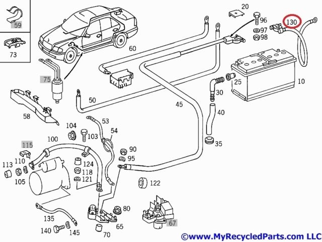 mercedes w202 negative cable from battery to ground 2025400231