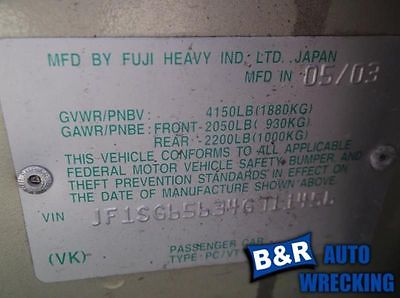 04 FORESTER ENGINE ECM ELECTRONIC CONTROL MODULE UNDER RH DASH EXC. TURBO 8877669