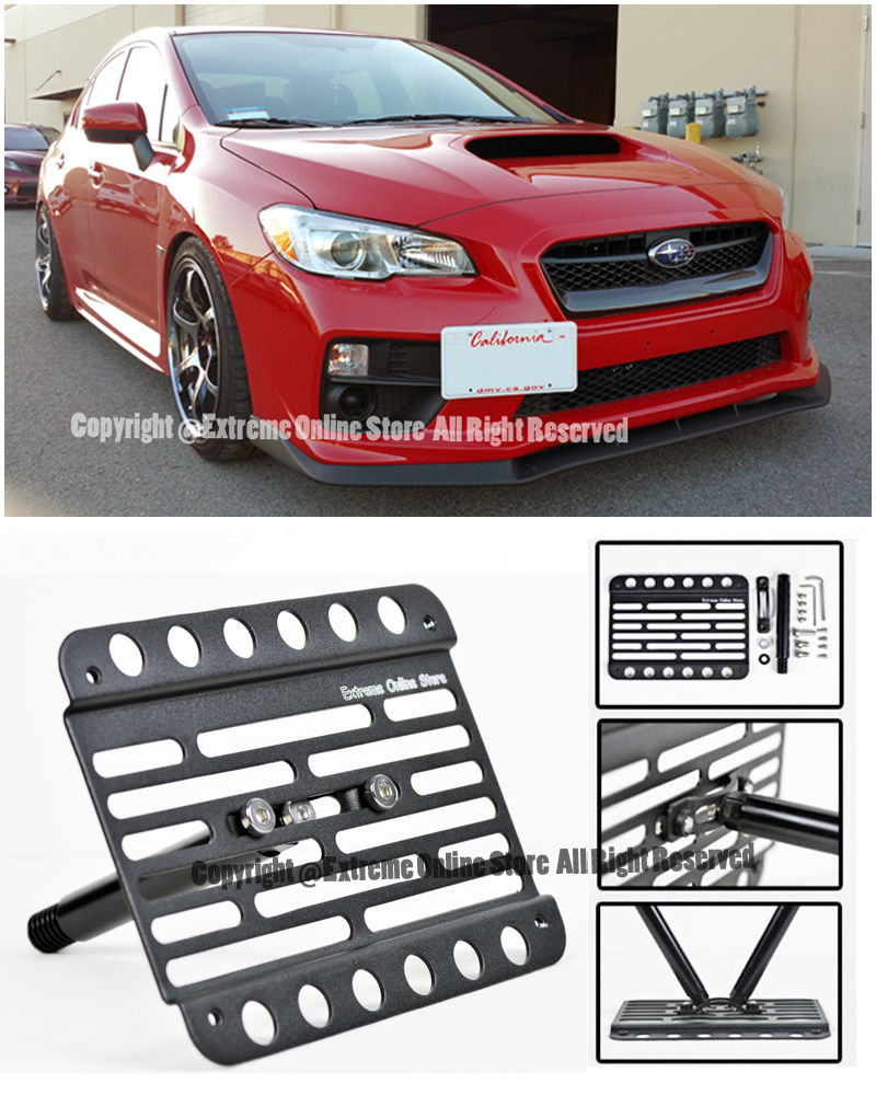 For 15-Up Subaru WRX | STi Front Bumper Tow Hook License Plate Relocator  Bracket