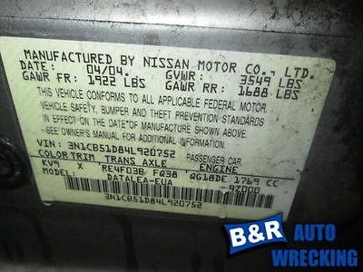 04 05 06 NISSAN SENTRA AUDIO EQUIPMENT 7345899 7345899