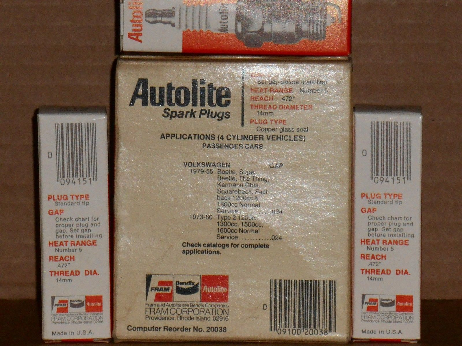 VW Type 1 Beetle Bug 1955-1979 NOS lot of (7) Autolite 415 Spark Plugs  W8AC