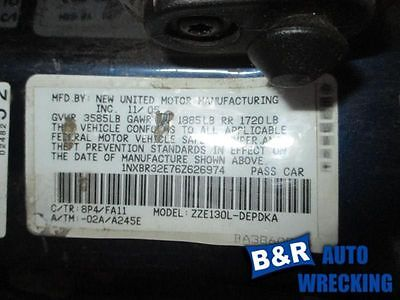 06 TOYOTA COROLLA ENGINE ECM ELECTRONIC CONTROL MODULE RH DASH AT ID 89661-02C92 8501310