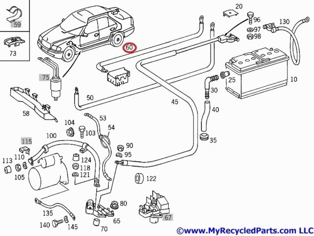 mercedes w202 positive cable from battery to fuse box in luggage compartment