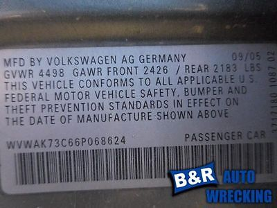 06 PASSAT ENGINE ECM ELECTRONIC CONTROL MODULE 2.0L THRU VIN 072000 AT 8239139 590-50628A 8239139