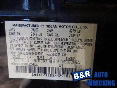 07 08 09 10 11 12 NISSAN ALTIMA STEERING GEAR/RACK POWER RACK AND PINION S 551-50207 8564762