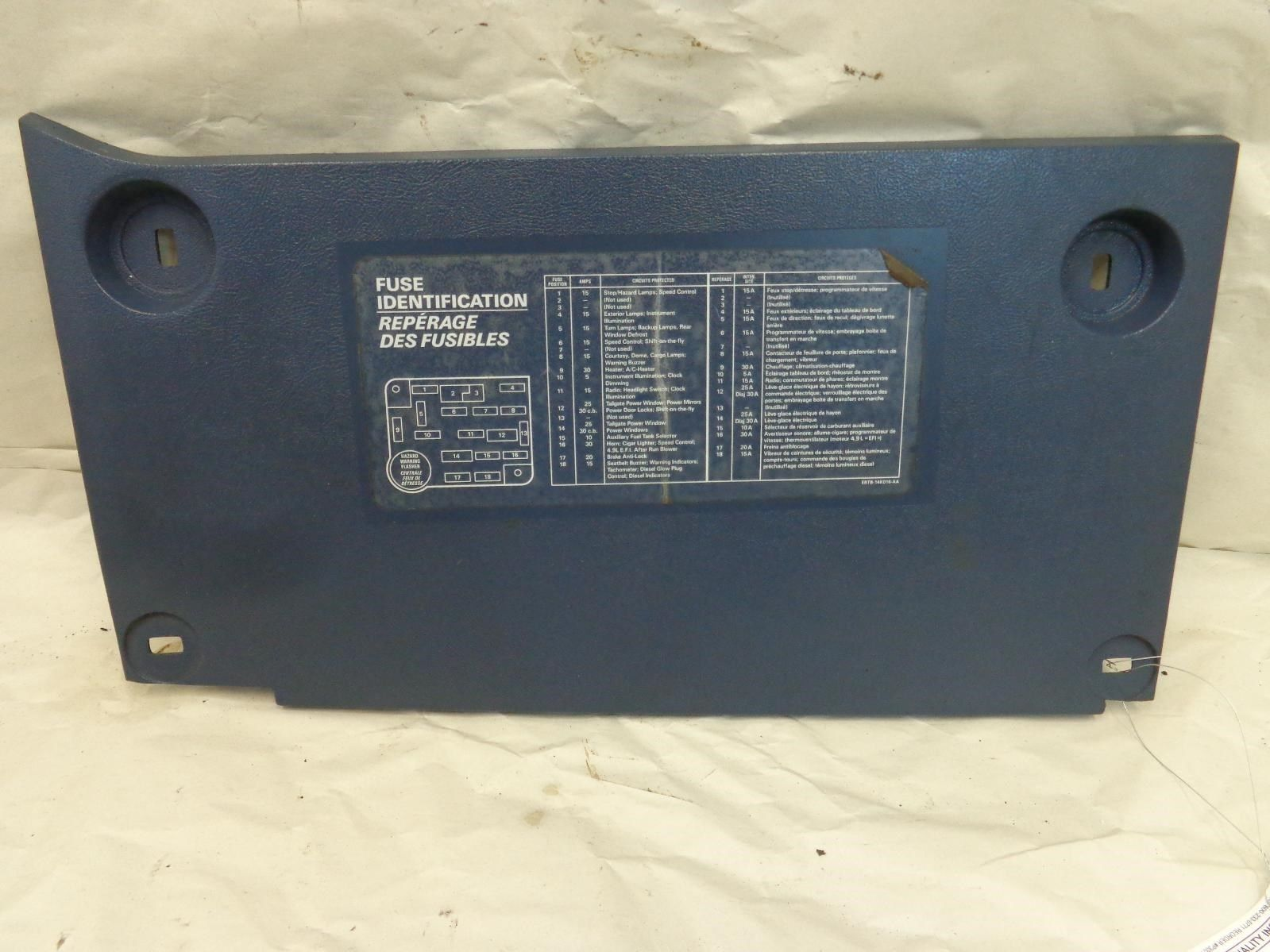 Ford F150 Dash Fuse Panel Cover Blue FOTZ1504459A 87 88 89 90 91 F250 Bronco  Does Not Apply 9194