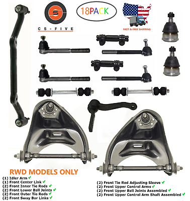 PartsW 10 Pc Suspension Steering Kit for Chevrolet Blazer S10 GMC Jimmy Sonoma Isuzu Hombre Center Link Adjusting Sleeves Inner /& Outer Tie Rod Ends Sway Bar Links and Idler Arm