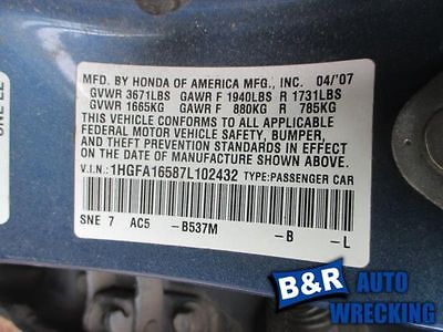 06 07 08 09 10 11 HONDA CIVIC ANTI-LOCK BRAKE PART 9237350 545-50163 9237350