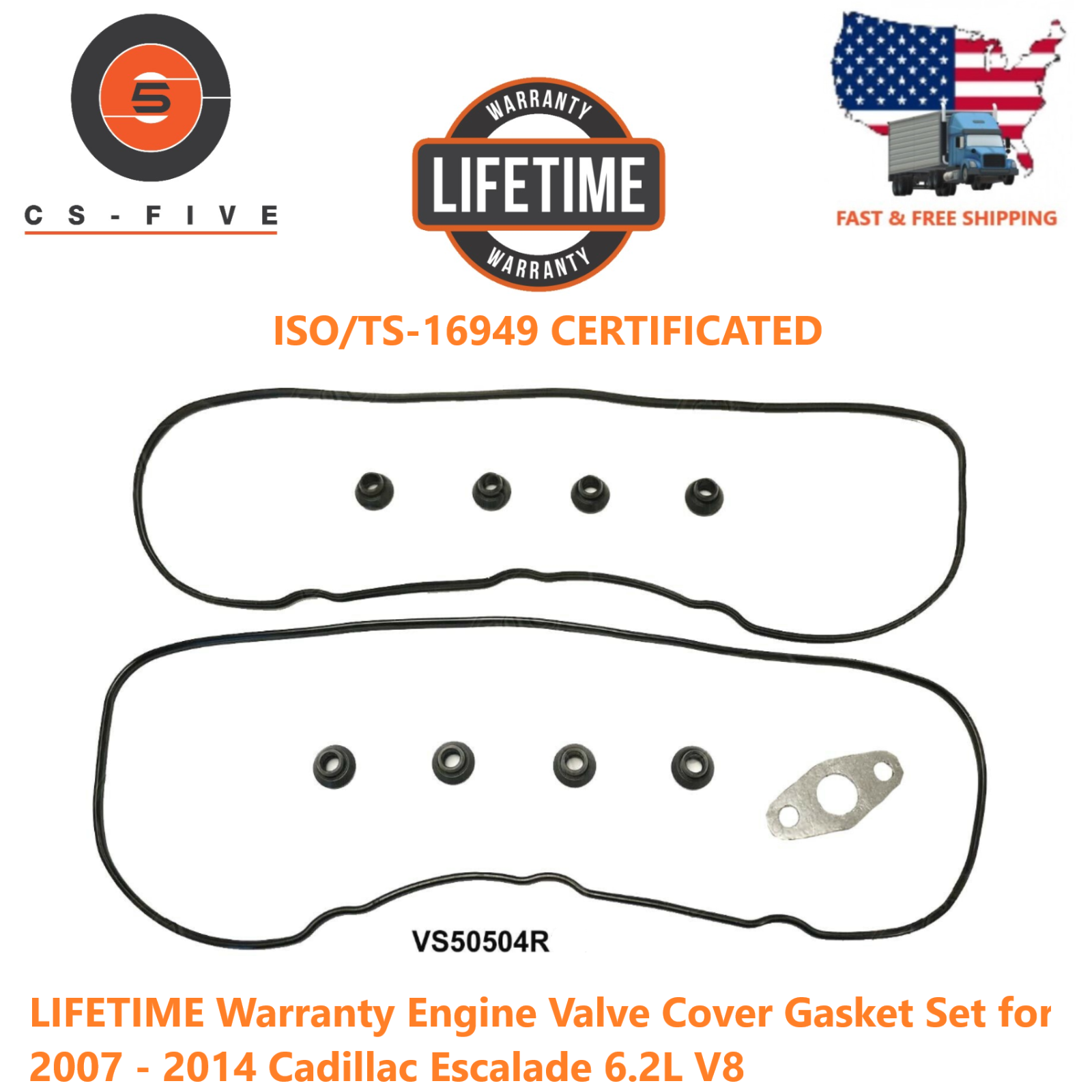 LIFETIME Warranty Engine Valve Cover Gasket Set for 07-14 Cadillac Escalade 6.2L 12560696 VS50504R