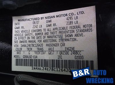 07 08 09 10 11 12 13 NISSAN ALTIMA R. LOWER CONTROL ARM FR 8909996 8909996