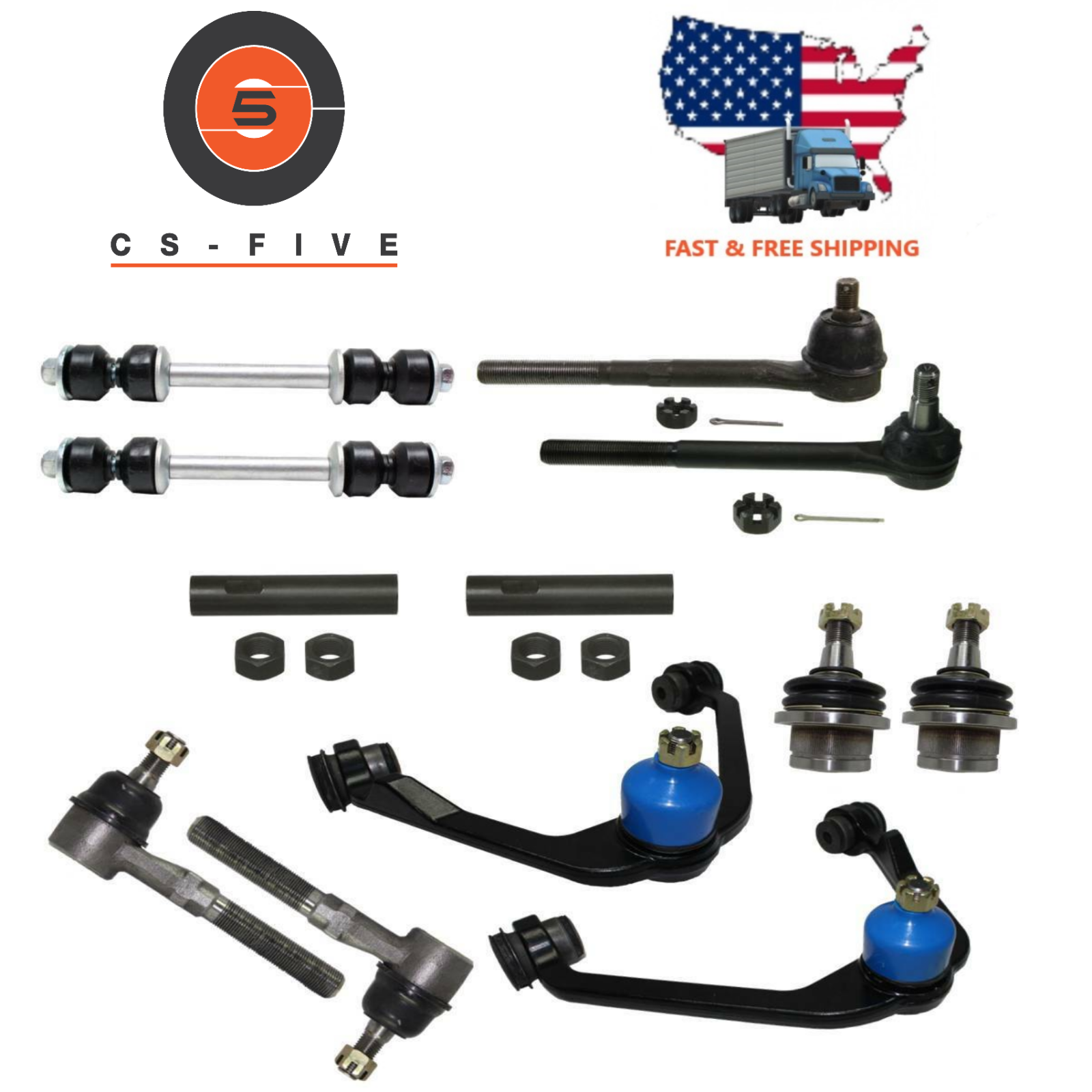 HD Ball joint Control Arm Tie Rod Front End Rebuild Kit 2001 Ford Expedition 2WD