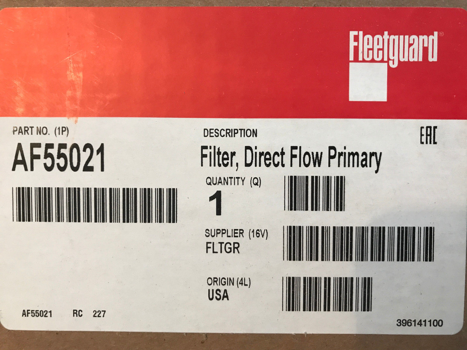 (LOT OF 2) AF55021 FLEETGUARD AIR FILTER 1600-3I QSB 4.5 Cummins 700738183 5288553 70024175