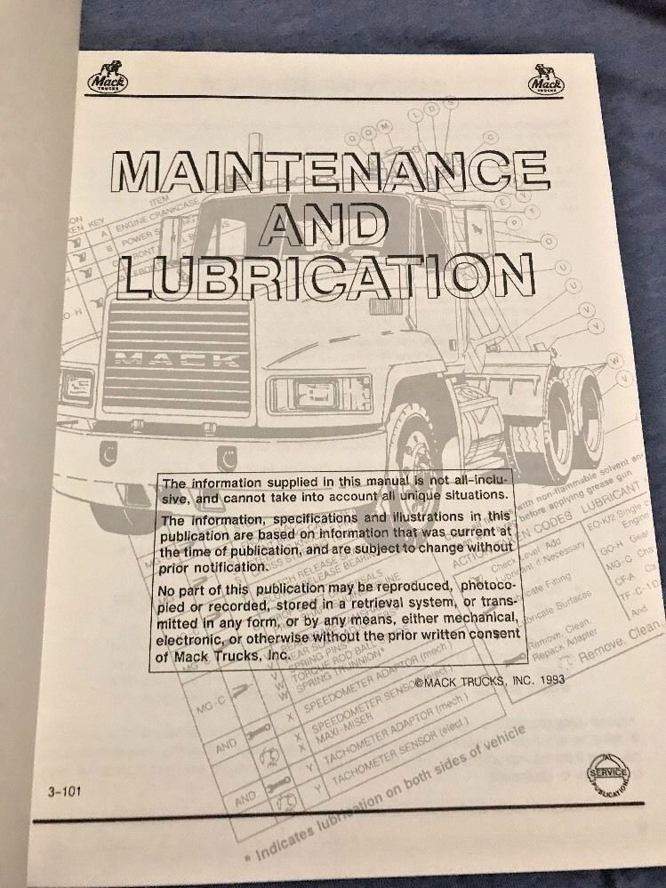 Mack Diesel Trucks Maintenance & Lubrication Factory Service Shop Manual 3-101