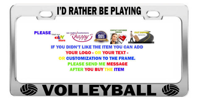 I D Rather Be Playing Volleyball Funny Car License Plate
