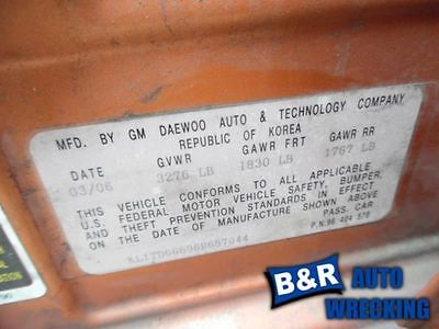 05 06 07 08 AVEO POWER BRAKE BOOSTER W/MASTER CYL MT W/O ABS FROM VIN 446117 540-00127 9221925