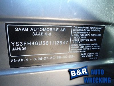 06 SAAB 9-3 ~Right Rear Interior Door Trim Panel~ 4131145 205.SA1R06 4131145