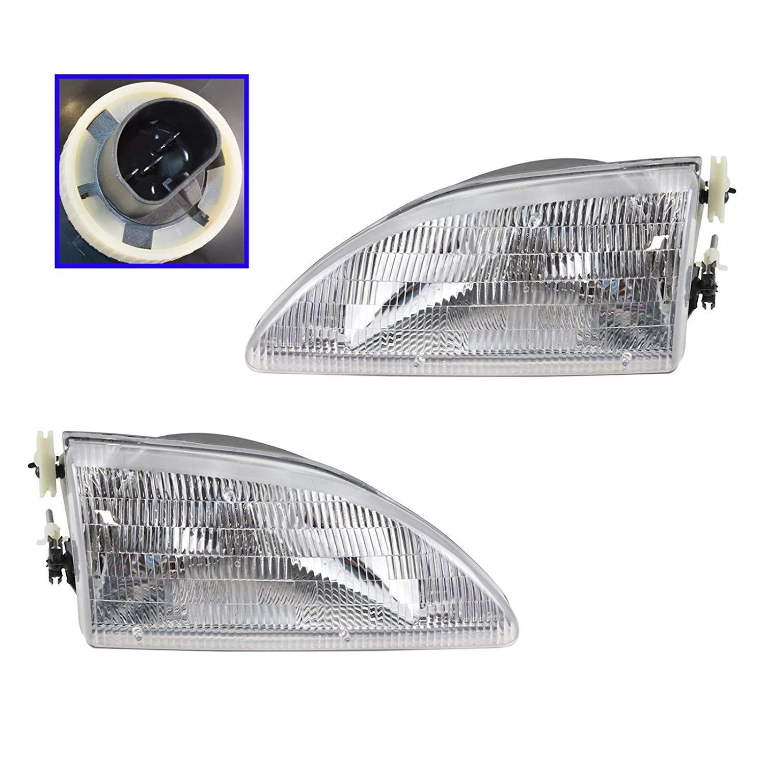Headlights Headlamps Left & Right Pair Set for 94-98 <em>Ford</em> <em>Mustang</em>