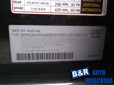 06 07 08 AUDI A3 AUDIO EQUIPMENT RECEIVER CONCERT LL W/BLACK BUTTONS 8045251 8045251