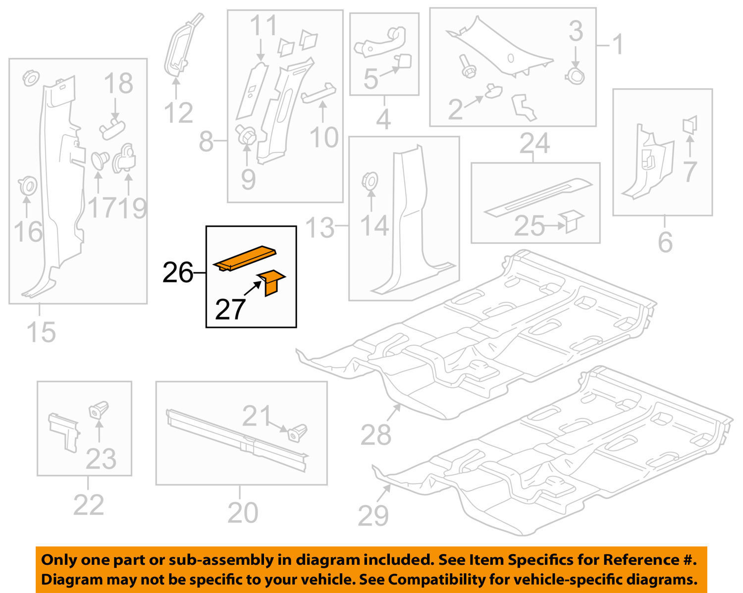Jermaines Store On Buy Auto Parts Car Truck Gm Diagram Oem Interior Rear Sill Plate 25844290
