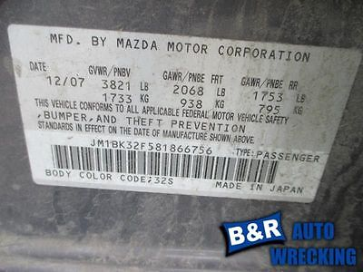 06 07 08 09 MAZDA 3 WINDSHIELD WIPER MTR FROM 10/13/05 8984589 8984589