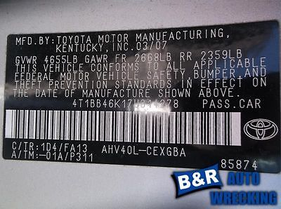 07 08 09 10 11 TOYOTA CAMRY AUTOMATIC TRANSMISSION 9171458 400-50444 9171458