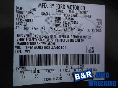 06 07 08 FORD EXPLORER ANTI-LOCK BRAKE PART ASSEMBLY ROLL STABILITY CONTROL 8896695