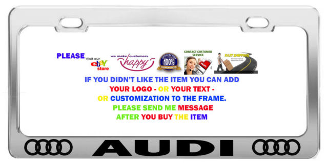CHROME STEEL> CAR LICENSE PLATE FRAMES> TAG HOLDER> AUDI CHROME CAR.