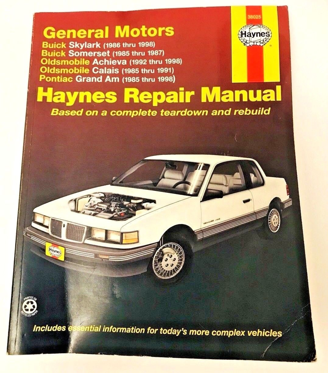 Haynes Repair Manual 38025 Buick Oldsmobile Pontiac Skylark Grand Am Achieva 38025
