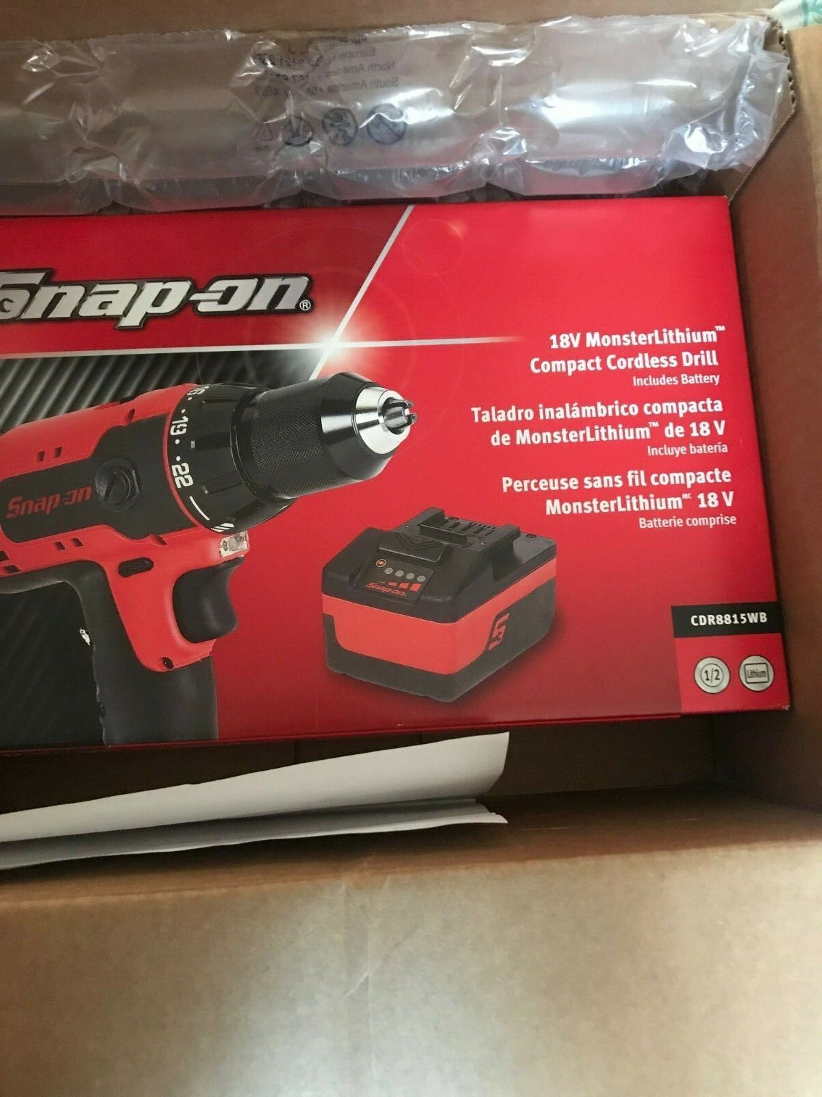 snap on 18 V MonsterLithium Compact Cordless Drill CDR8815WB Does not apply