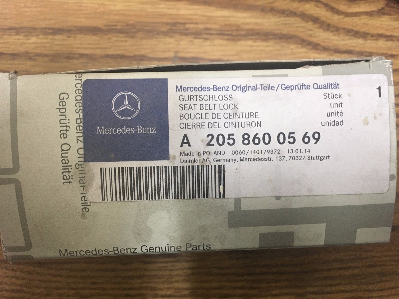 NEW Mercedes OEM Left Seat Belt Buckle A2058600569  C-Class 205/253 Chassis A205 860 05 69