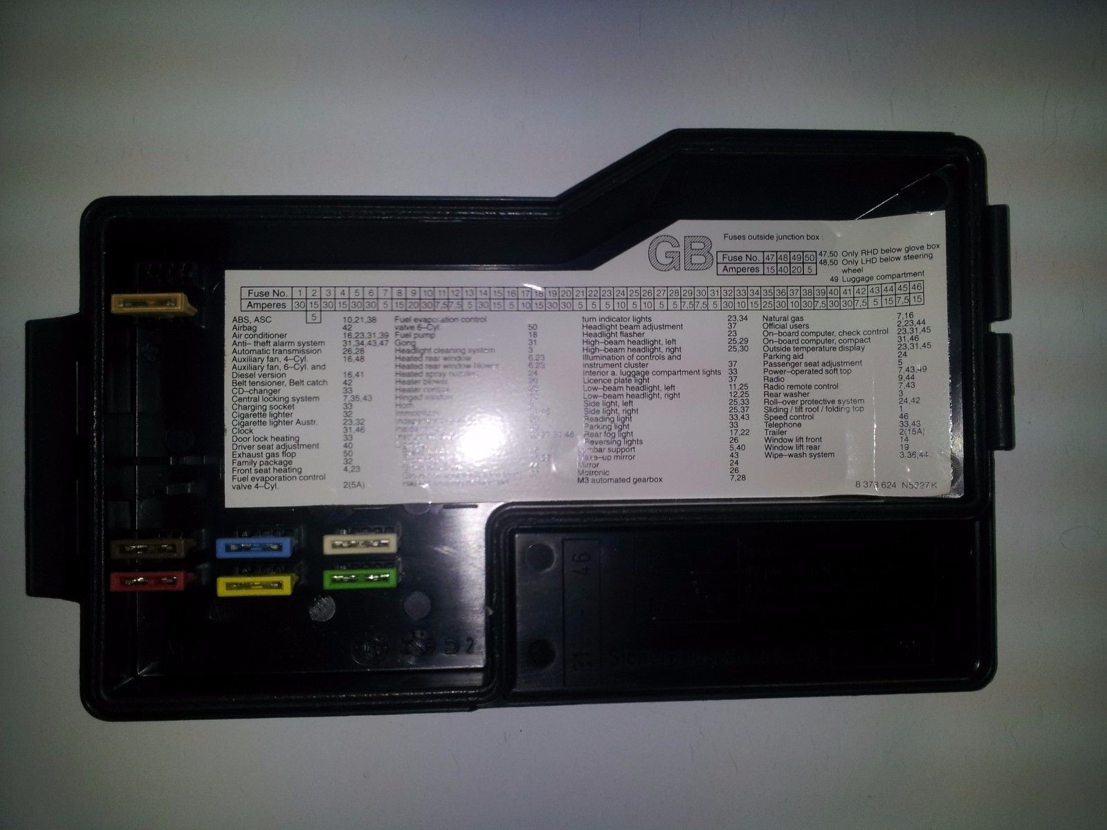 1992 1993 1994 1995 1996 1997 1998 1999 BMW 3 SERIES FUSE BOX 61.13 ...