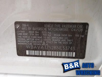 07 08 09 10 11 12 13 BMW 328I CARRIER ASSEMBLY CPE REAR RWD AT 3.73 RATIO 8954817