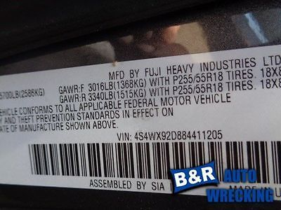 06 07 08 09 10 11 12 13 14 SUBARU TRIBECA POWER BRAKE BOOSTER 9078695 540-59064 9078695