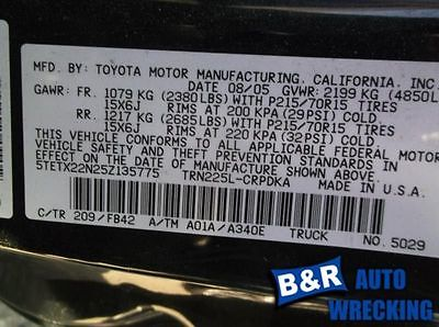 05-10 11 12 13 14 15 TOYOTA TACOMA R. LOWER CONTROL ARM FR 4X2 EXC. PRE RUNNER 8212339