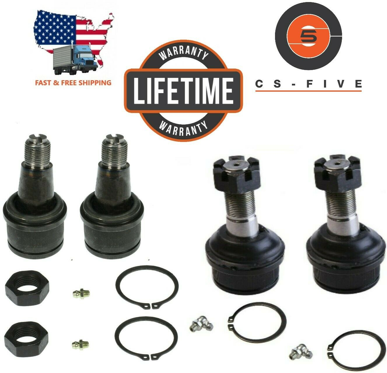 LIFETIME 4 Front Upper Lower Ball Joints for FORD F-450 Super Duty 1999-2002 2WD B8607 46D2181A FA1754 260-1395 K8388T 260-1248