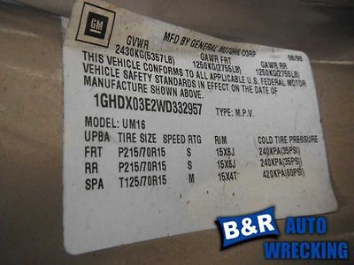 ANTI-LOCK BRAKE PART W/TRACTION CONTROL OPT NW9 FITS 97-99 SILHOUETTE 6634148 545-01909 6634148